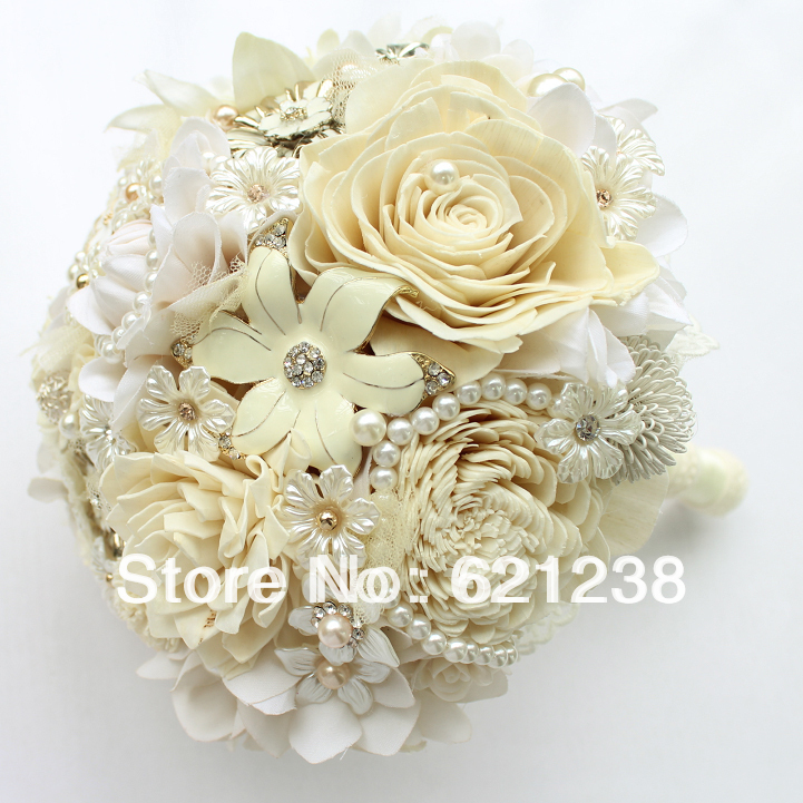 ems free shipping the ivory wedding holding flowers pastoral style bridal bouquet nude color. Black Bedroom Furniture Sets. Home Design Ideas