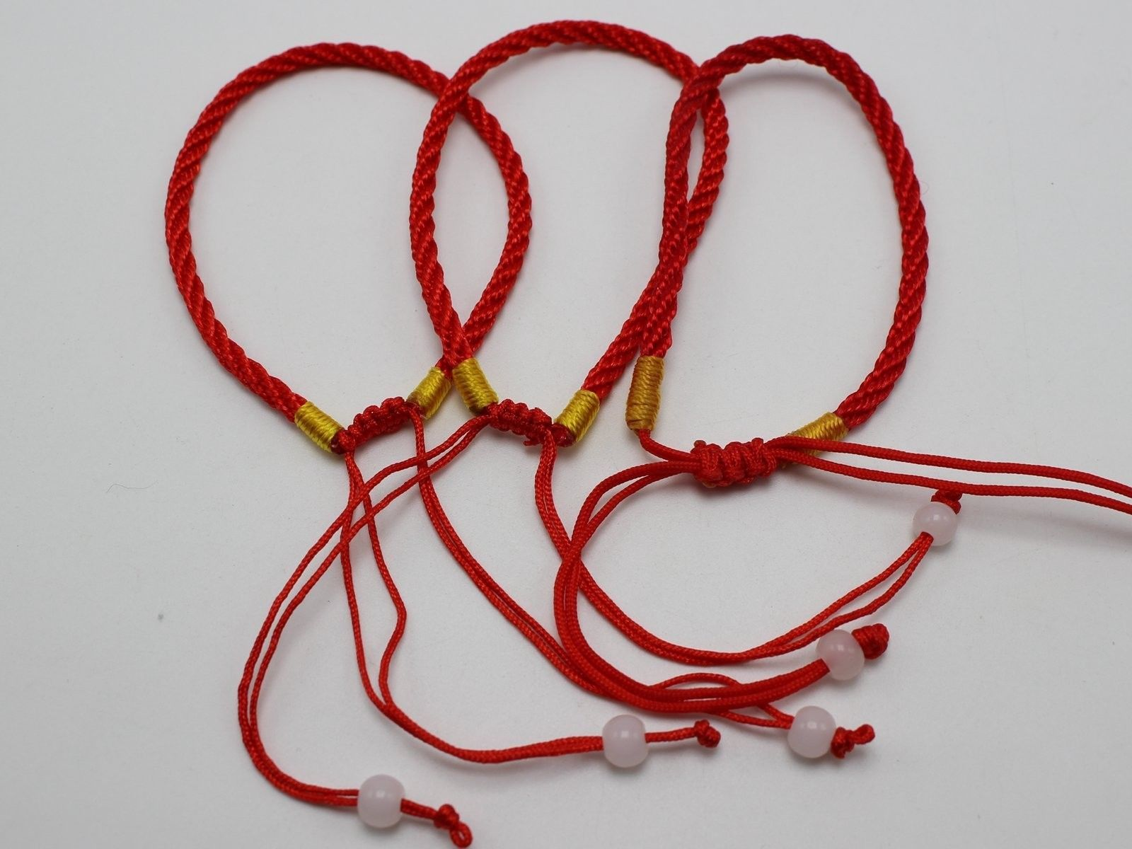 10 Braided Lucky Red String Love Rope Cord Jude Beaded Adjustable Bracelet
