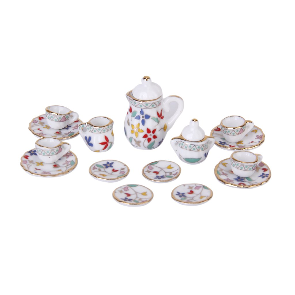 Dollhouse Miniature 1:12 Toy Kitchen Dining Room 17 pcs daisy Porcelain Tea Set
