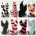2016 bufandas de piel de conejo real, moda cálida colores adecuados para las mujeres, niños