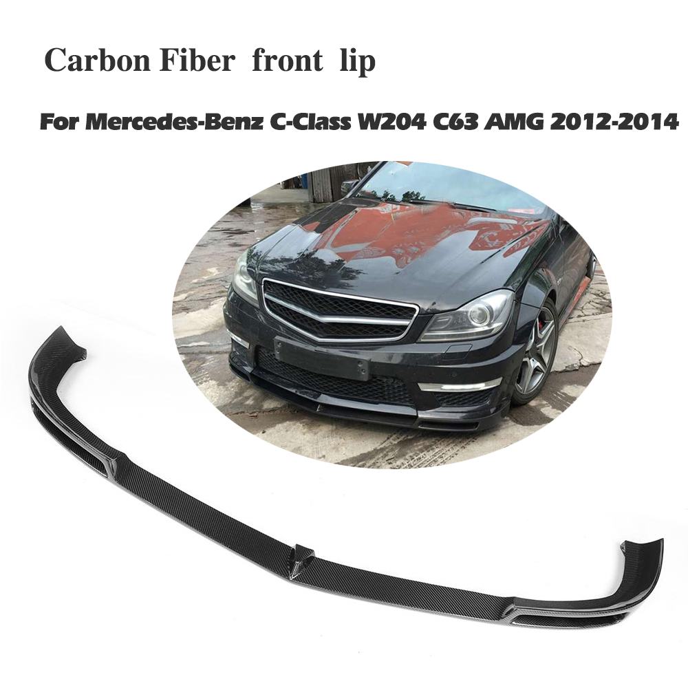 carbon fiber <font><b>front</b></font> <font><b>lip</b></font> spoiler for <font><b>Benz</b></font> C Class <font><b>W204</b></font> C63 bumper 2012 2013 2014 2015 2016 image
