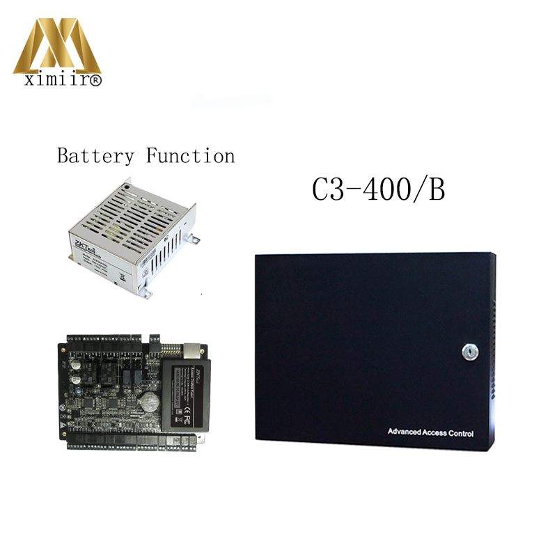 RFID Card Door Access Control System With Battery Function Power Supply Box ZK TCP/IP C3-200 2 Doors Access Control Panel zk c3 100 door access control system with battery function power supply box tcp ip 1 door access control panel with free sdk