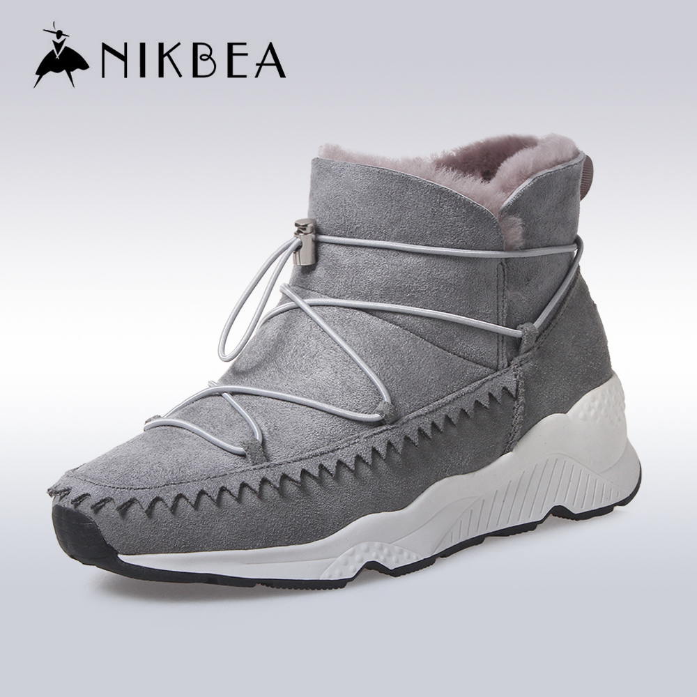 NIKBEA 2016 Warm Genuine Leather Sheepskin Fur Snow Boots Women Winter Boots Casual Ankle Boots for Women Hidden Wedge Shoes