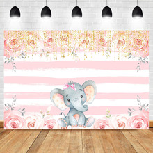 Girl Elephant Photo Backdrop Pink and White Stripe Birthday Floral Backdrops Baby Shower Cake Table Decoration Banner