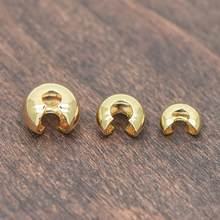 20 pcs Ouro Crimp Grânulos Covers, 18 K Latão banhado a Ouro, esconder Crimp Termina 4/5/6mm (GB-637)