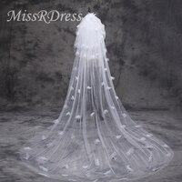 MissRDress Hot Sale 2018 Bridal Veil White Elegant Wedding Veil Ivory Long Three Layers Veil For Bride Wedding Accessories JKm37