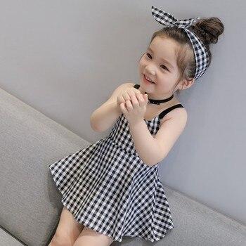 Kids Baby Girls Sleeveless Dress Princess Party Plaid Tutu Dresses 1-6Y Summer Backless Cross Kids Clothes Lovely conjuntos casuales para niñas