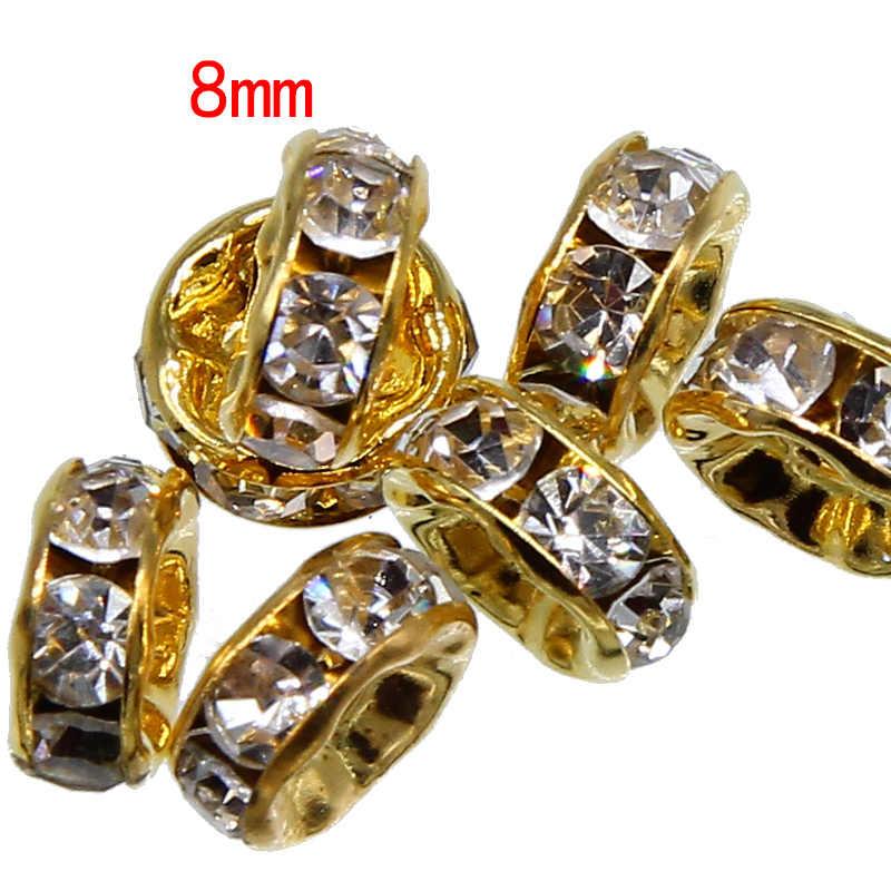 100 Pcs/lot 8 Mm Emas Warna Perak Berlian Imitasi Rondelles Kristal Manik-manik Longgar Spacer Beads untuk Perhiasan Membuat Aksesoris