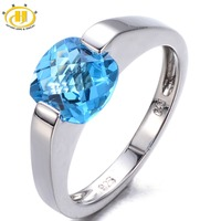 Hutang Genuine Blue Topaz Solid 925 Sterling Silver Ring Checkboard Cut Gemstone Women S Fine Jewelry