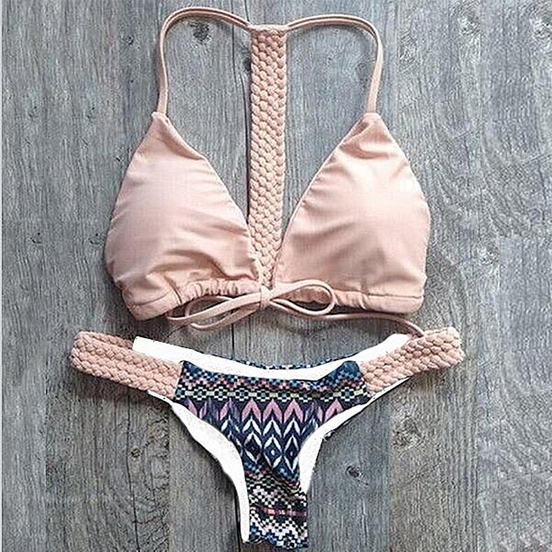 Handmade Micro Mini Bikini Women Pink Padded Swimming Suit -1982