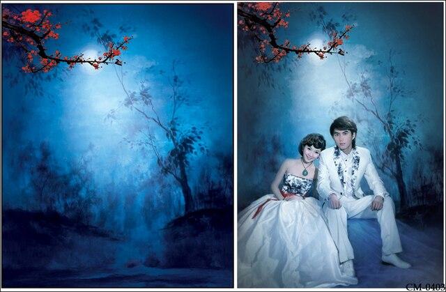 Plum Flower Painting Blue Background Printed Tree Vinyl 5x7ft Cloth