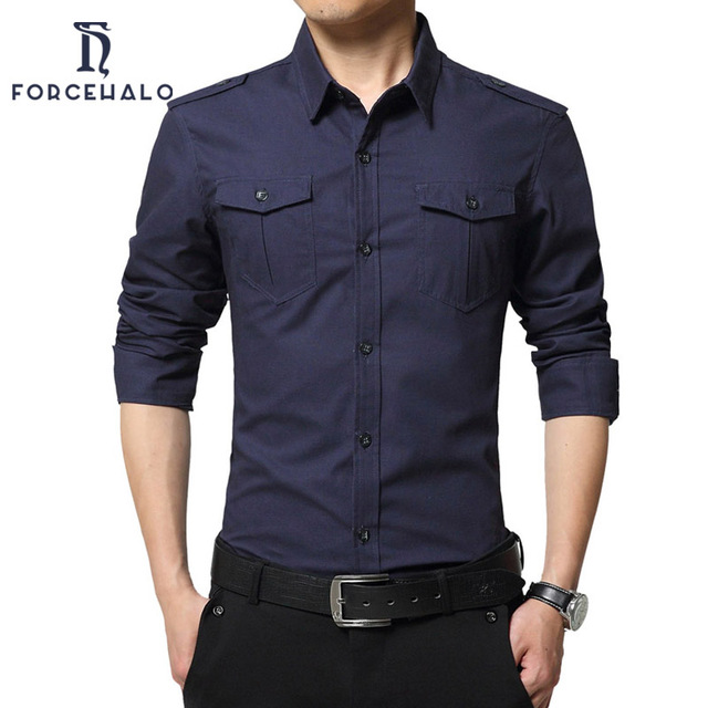20f3ad6f1 2017 New Brand Military Style Mens Shirts Casual Pocket Design Men Blouse  100% Cotton Breathable Shirts For Men Plus Size M-4XL
