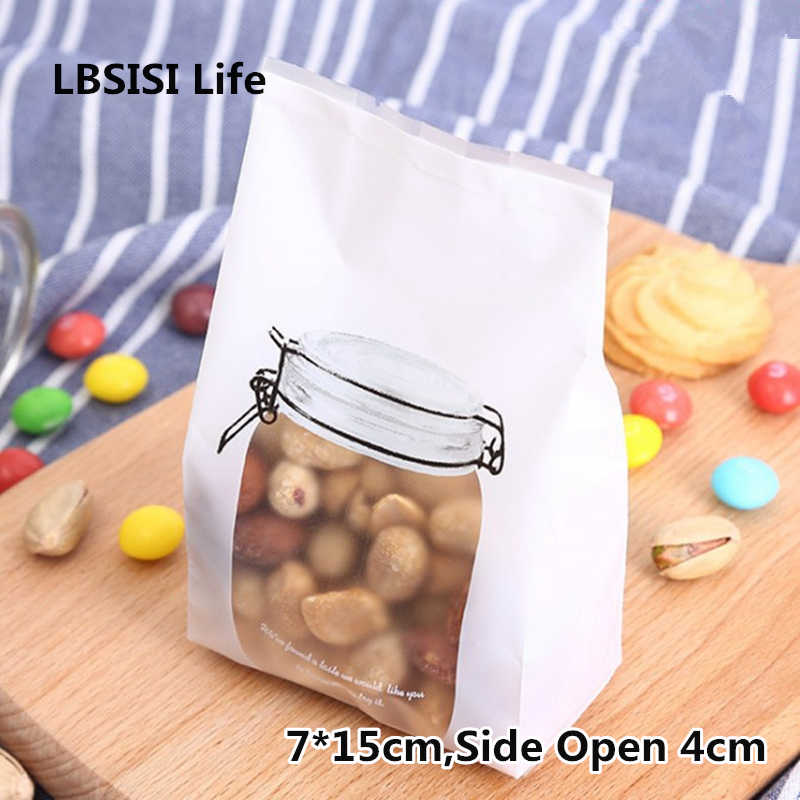 LBSISI Life 50pcs White Bottle Cookie Bags Letter Flat Self Stand Food Biscuit DIY Baking Packing Plastic Machine Seal Bag