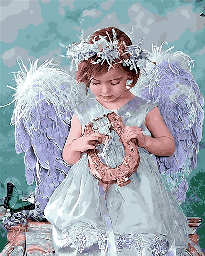 baby angel kiss painting by numbers little kids paint on canvas