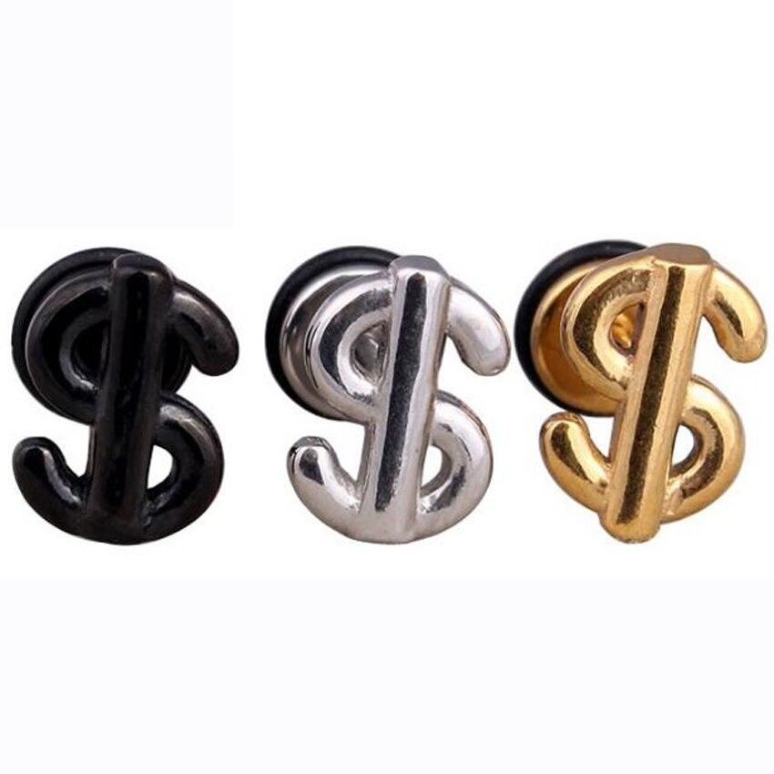2Piece Free Shipping 2017 New Stainless Steel Earring US Dollar Animal Punk Stud Earrings Body Piercing Jewelry Men Women