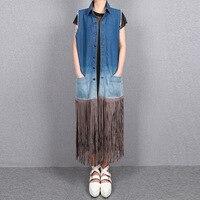 Women Blue Gradient Maxi Denim Vest Stitching long suede Fringed Sleeveless Waistcoat Leather Tassles Single Breasted Pockets