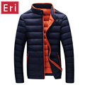 Parka Winter Jacket Men Slim Fit Black Coats Jackets Brand Fashion Stand Collar Zipper Coat Outerwear Cotton-Padded 3XL X406