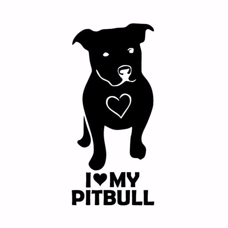 Download 7CM*14.5CM I LOVE MY PITBULL Vinyl Animal Personality ...