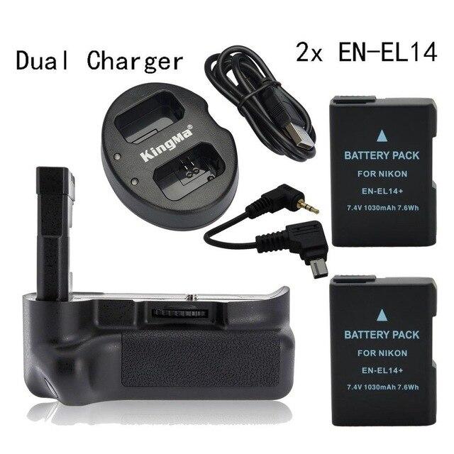 Майке Вертикальная Батарейная ручка для <font><b>Nikon</b></font> <font><b>D3200</b></font> D3100 + 2 * EN-EL14 + двойной Зарядное устройство
