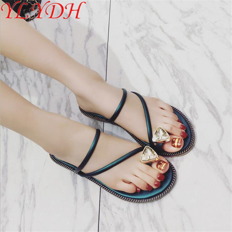 3d90f5eb6 2017 Summer New Women Flip Flops Sweet Crystal Cool Towel Toe Flat With  Anti skid Slippers Fashion Sandals Women Shoes-in Slippers from Shoes on ...