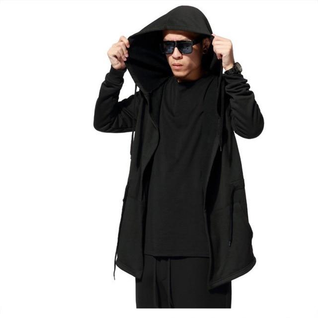 Мужчины С Капюшоном С Черным Платье Хип-Хоп Мода Мантии Толстовки Hat Кофты с длинными Рукавами Дизайн Плащ Зимнее Пальто И Пиджаки Свободные