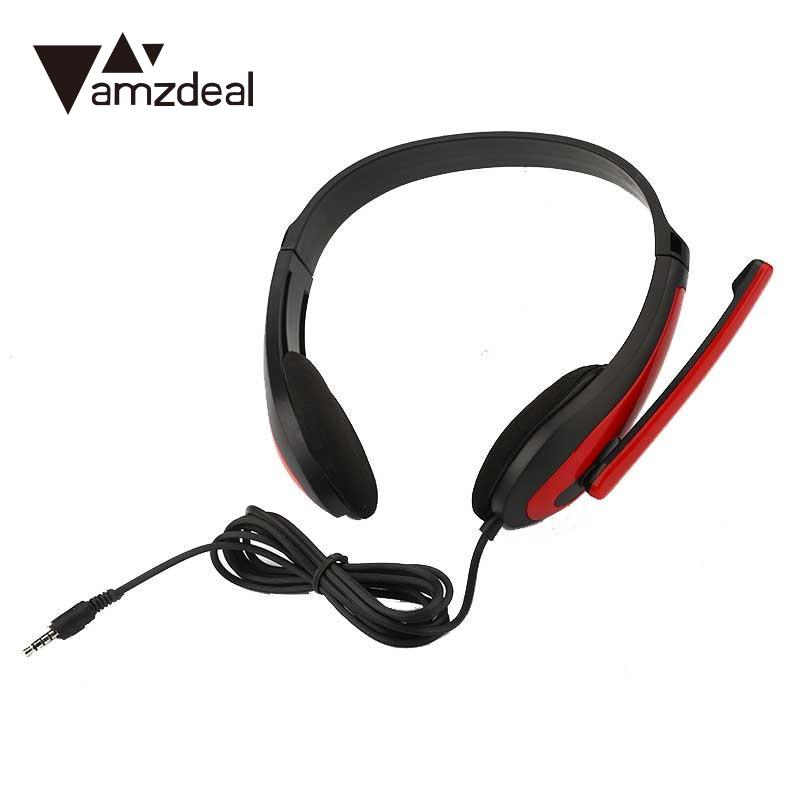 amzdeal 3.5mm AUX Wired Headset Handsfree Earphones Stereo Bass Headband Over-Ear Headphone With Mic For PC Mobile Phone Red each g1100 shake e sports gaming mic led light headset headphone casque with 7 1 heavy bass surround sound for pc gamer