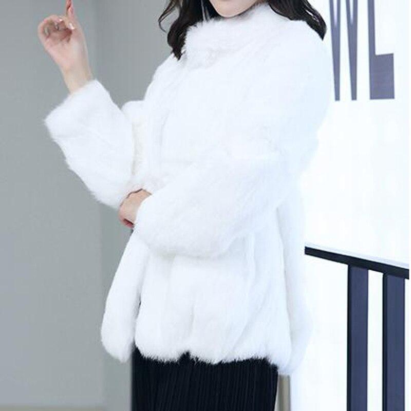 2019 Natural 100% Genuine Full Pelt Rabbit Fur Coat Women Fashion Whole Fur Wholesale Retail Jacket Hot Standard Collar WSR27