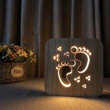 Feet Shape Carving Wood Night Ligh Footprint USB Desk Table Lamp 3D Visual Bedroom Children Kids Gift Home Decor Nightlight