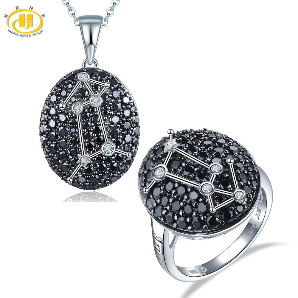 Hutang Aries Black Spinel Jewelry Sets Pendant Ring 925 Silver Sign Fine Jewelry for Women Best