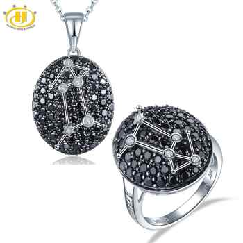 Hutang Aries Black Spinel Jewelry Sets Pendant Ring 925 Silver Sign Fine Jewelry for Women Best Gift 21th March Until 22th April - DISCOUNT ITEM  17% OFF All Category