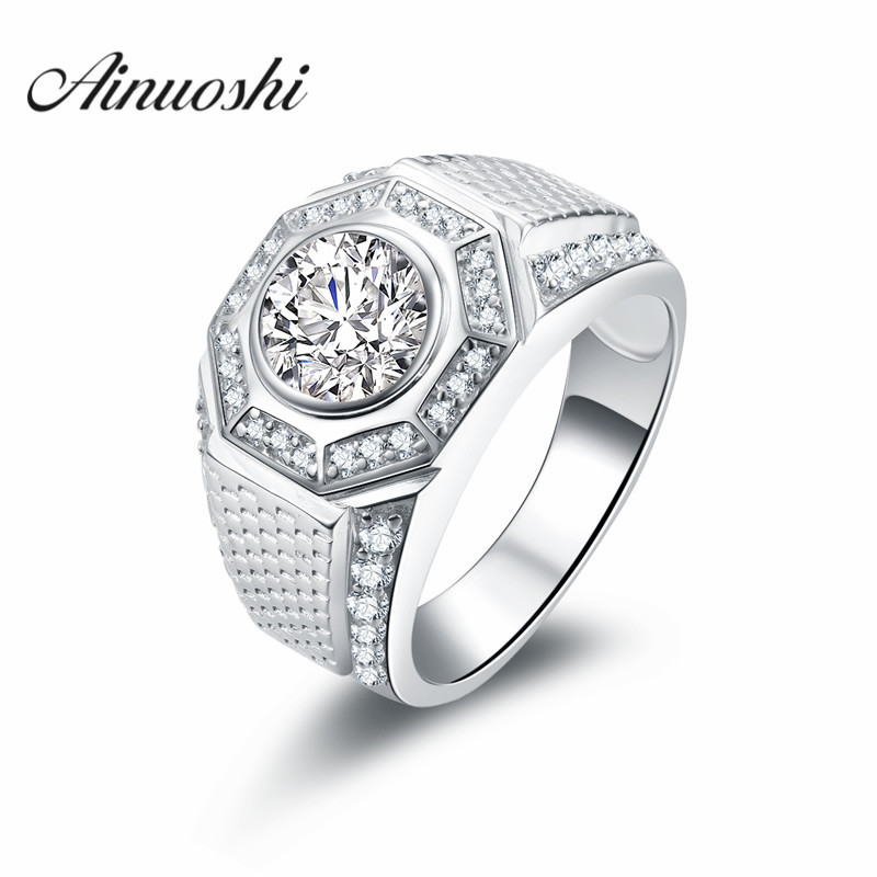AINOUSHI Luxury Design 2 Carat SONA Engagement Ring Vintage Man Trendy Sports Wedding Ring Genuine 925