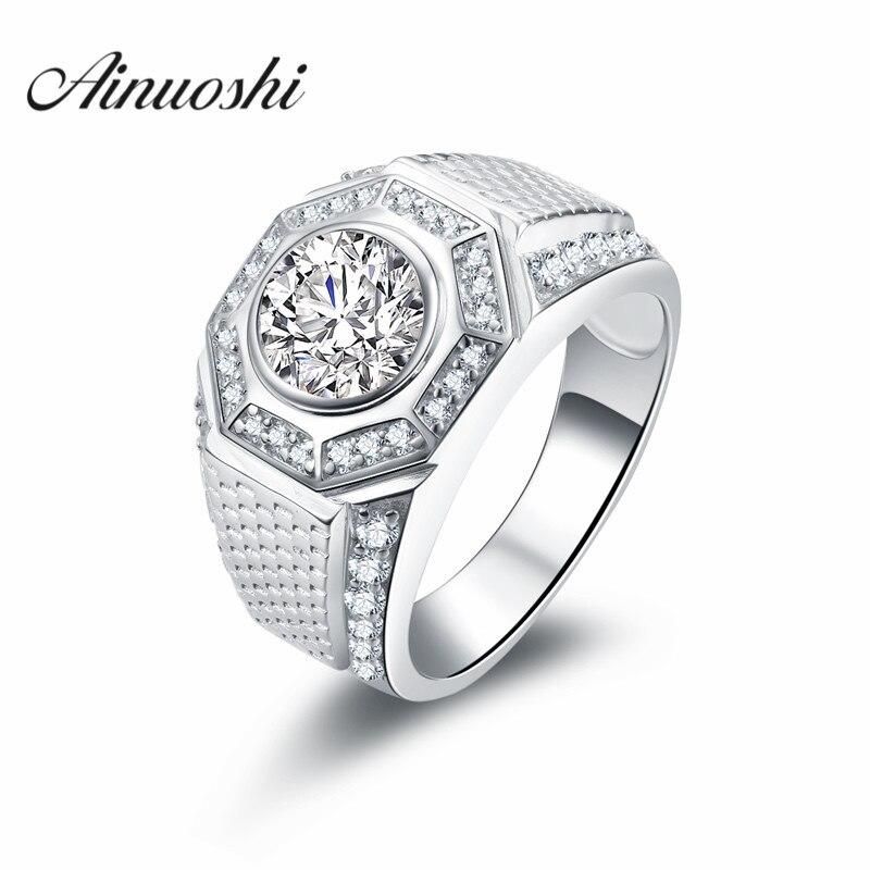 AINOUSHI Luxusní design 2 karátový SONA zásnubní prsten Vintage muž módní sportovní snubní prsten originální 925 Sterling Silver