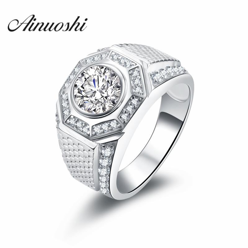 AINOUSHI Luxury Design 2 Carat SONA Engagement Ring Vintage Man Trendy Sports Wedding Ring Genuine 925 Sterling Silver