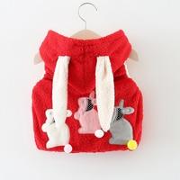 Kids baby girl clothes winter cartoon rabbit baby vest sleeveless baby girl hoodie coats 1 2years baby girls clothing
