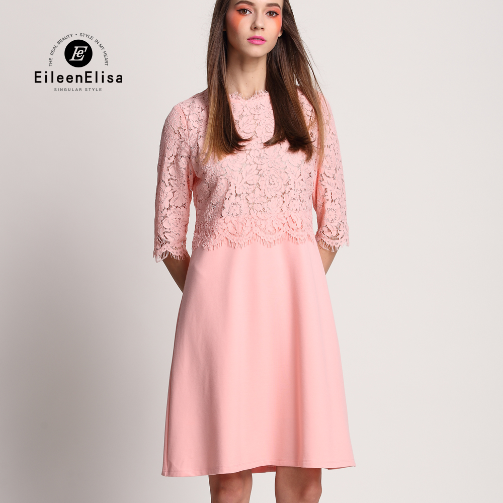 Runway Dress 2017 Women High Quality Luxury Pink Summer Lace