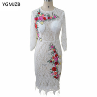 White Short Lace Mother of the Bride Dresses 2018 Sheath Embroidery Flowers Long Sleeves Knee Length Wedding Party Dresses