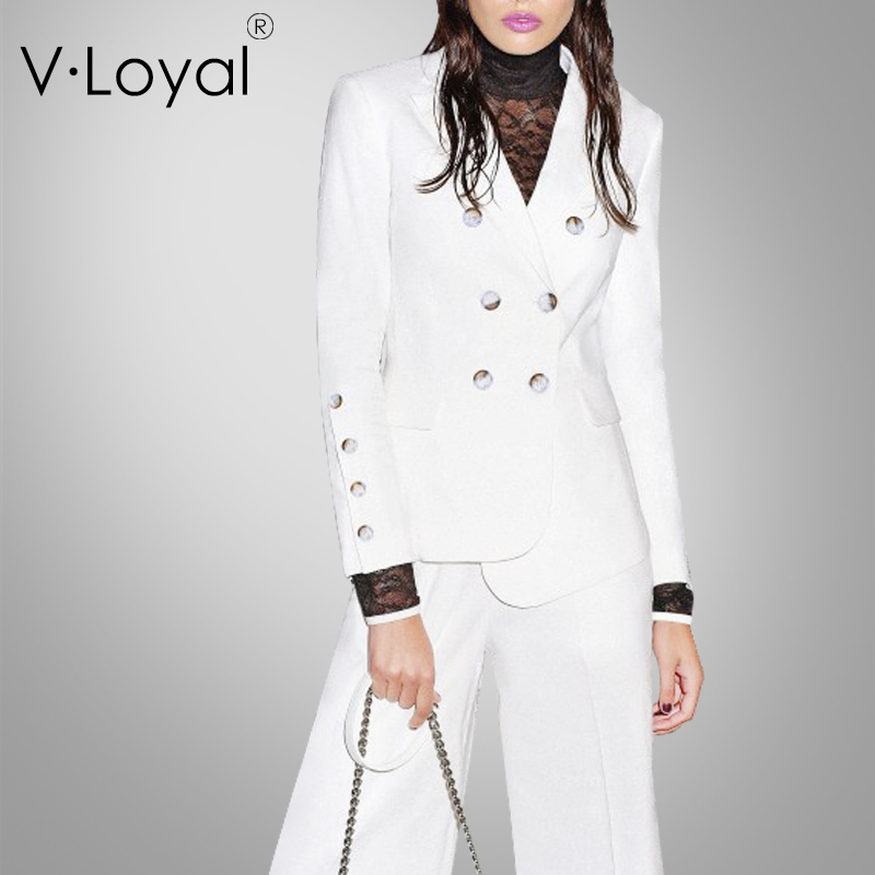 Casual White Small Suit Jacket European And American Double-breasted Suit Jacket