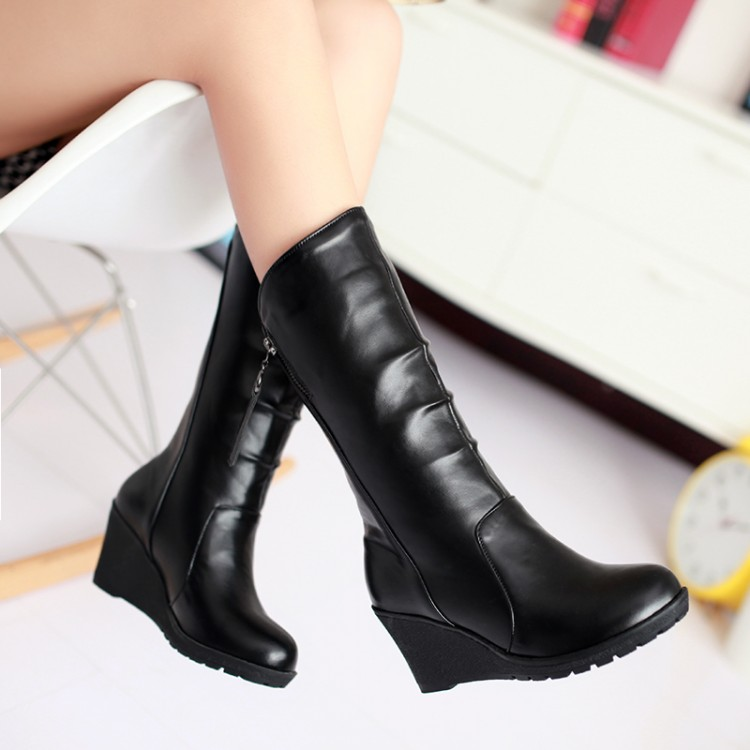 ФОТО 2015 women winter boots  wedge side zipper knights  high-heeled boots restoring ancient ways big  size 46 48 small size 30 32