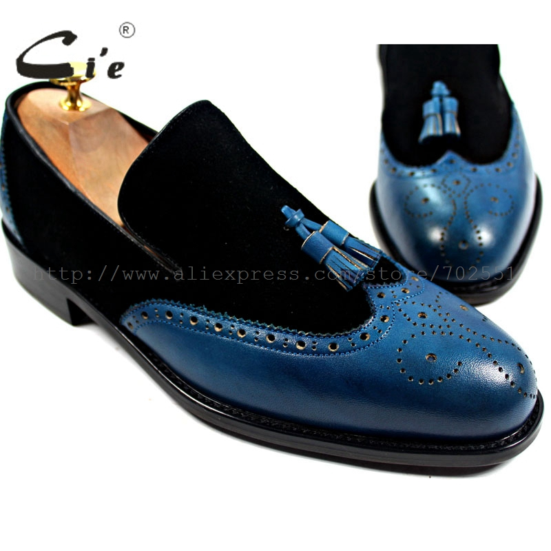 cie Free Shipping Bespoke Handmade Genuine Calf Leather Men's Tassels Slip-on Boat Black Suede/Navy Matching Shoe No.Loafer 17 cie free shipping handmade tassels buckle loafer brown white matching calf leather bottom outsole men shoe 3 crafts loafer66