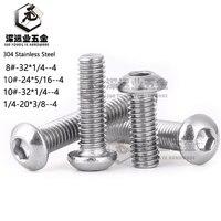 American Thread 8# 32 10# 24 10# 32 1/4 20 304 Stainless Steel ISO7380 Hexagon Socket Button Head Machine Screws Hex Socket