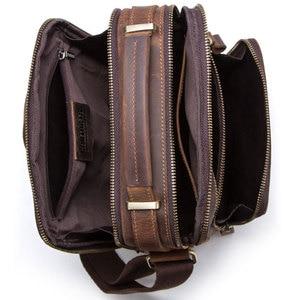 Image 5 - Men Bag Shoulder Crossbody Genuine Leather Messenger Bag Retro Small Male Pack Back Mochila Flap Business Travel Handbags Gift