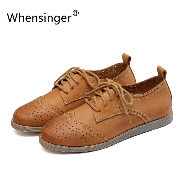 Whensinger 2016 Women Flats Genuine Leather Polka Dot Cut-Outs Design Round Toe 2 Colors Lace-Up for Spring Autumn D1610