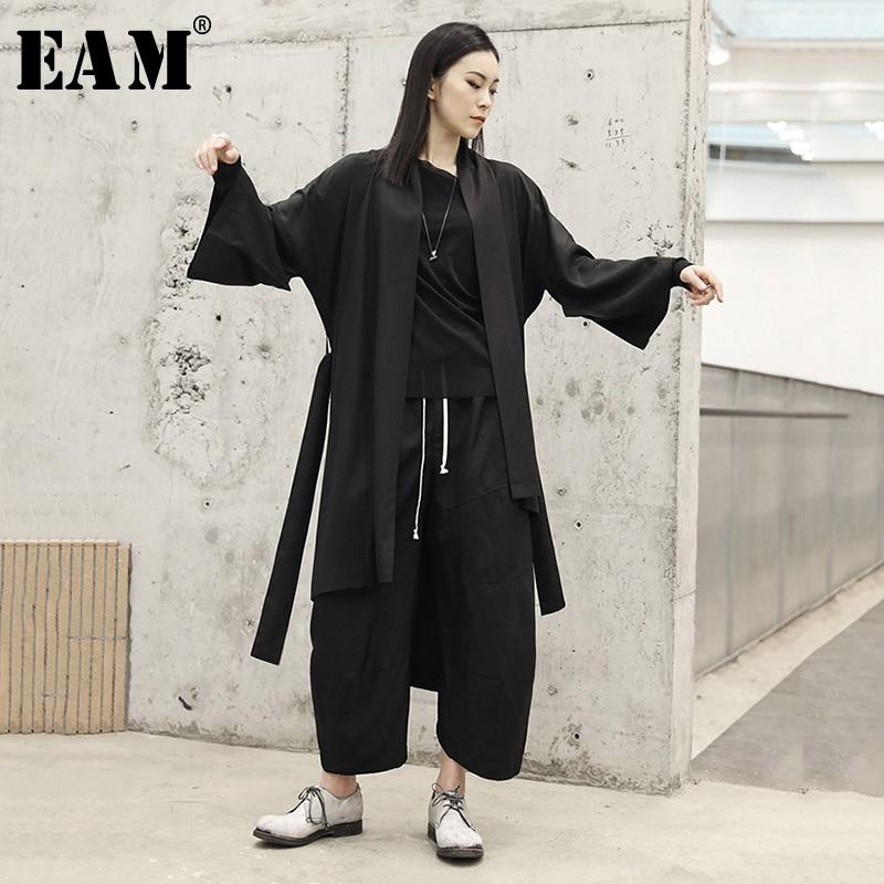 [EAM] 2019 New Spring Summer V-collar Long Sleeve Black Loose Irregular Big Size Windbreaker Women   Trench   Fashion Tide JO472