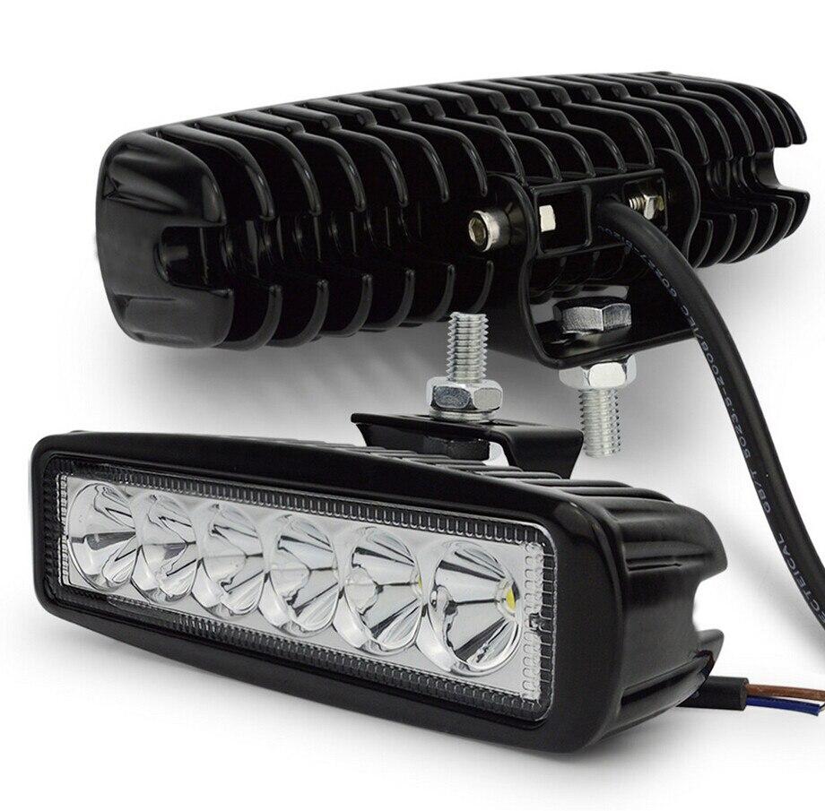 2 piezas 18 W DRL LED luz de trabajo 10-30 V 4WD 12 V para fuera de carretera del autobús del camión barco de la luz de niebla de la luz del coche de la Asamblea