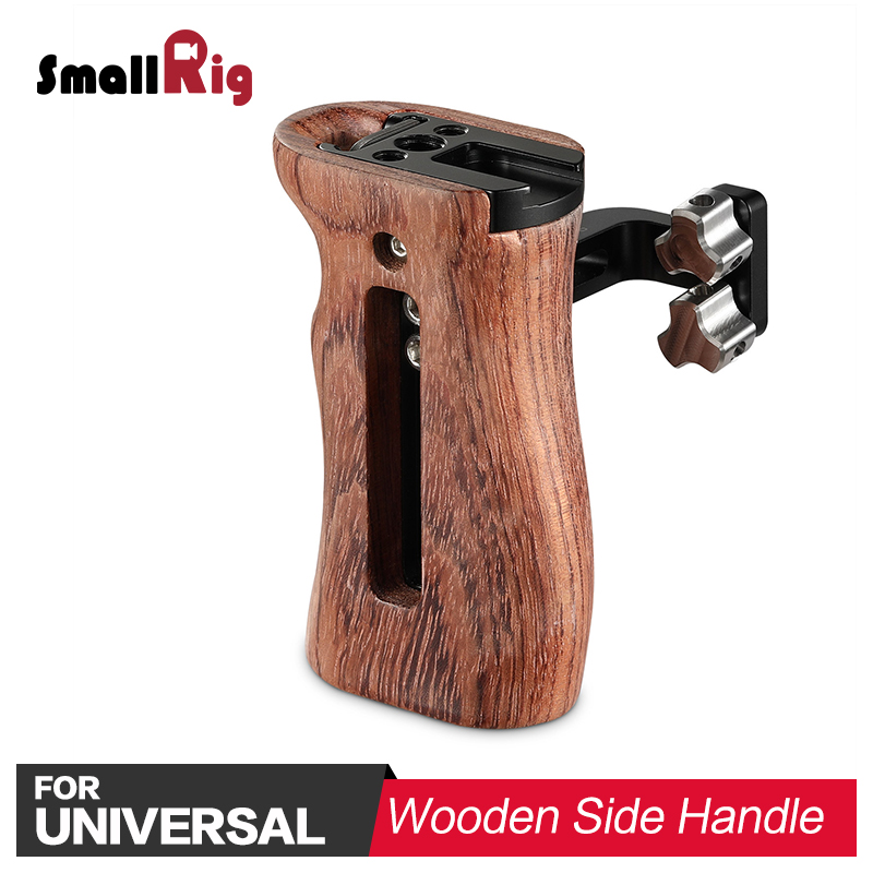 SmallRig Camera Video Handle Grip Stabilizer Universal Wooden Handle with Cold Shoe Mount and 1/4 3/8 Thread Holes 2093 led flash light cold shoe 1 4 screw mount handle grip black