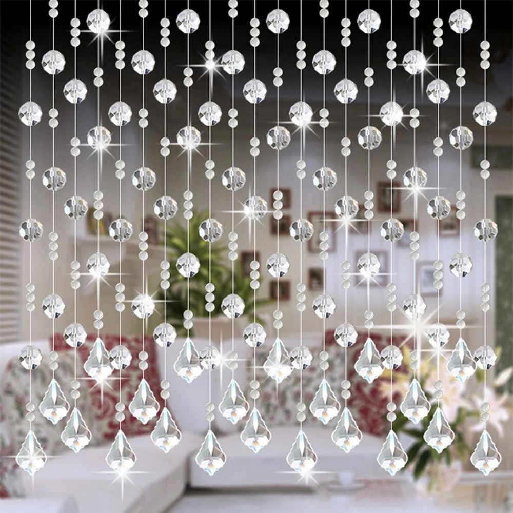 Luxo cortina de cristal contas borla seda corda cortina janela valance porta sheer painel cortinas janela porta casamento dec