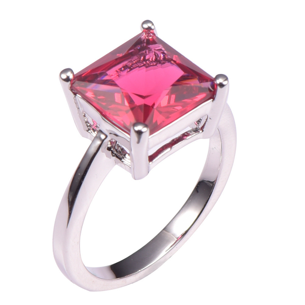 Red Crystal Zircon 925 Sterling Silver Wedding Party Fashion Design Ring Size 5 6 7 8 9 10 11 12 Pr42 In Rings From Jewelry Accessories On