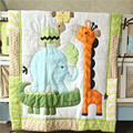 2014 Newest 7pcs Baby Crib Cot Bedding Set Quilt Bumper Sheet Dust Ruffle Nappy bag 4 items Birdie Owlet for Girl