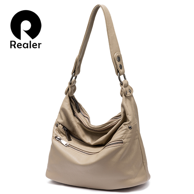 Realer Shoulder Bag Women Fashion Hobo Synthetic Washed Leather Handbags Large Tote Bags Messenger Las