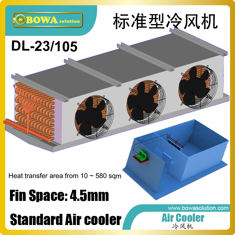105m2 air cooler matches 10HP HBP condensing unit, such as ZB76KQE scroll compressor or other 26~30m3/h displacement compressors